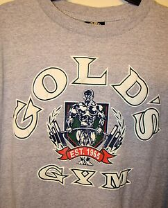RARE VINTAGE Golds Gym XL 100% Cotton T-Shirt Gray with White Letters Soft Belly