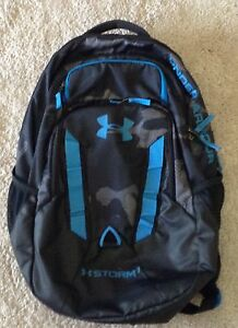 EUC Under Armour Recruit Storm Backpack Black Camo with Blue Accents