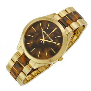New Michael Kors MK4284 Women's Slim Runway Two-Tone Runway Steel Bracelet Watch
