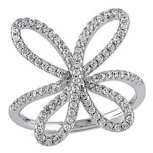 Sterling Silver 0.45 CT TGW Cubic Zirconia Flower Cocktail Cluster Fashion Ring