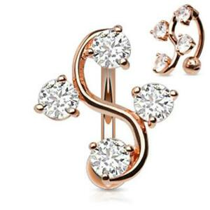 Af Surgical Steel Belly Button Piercing Rose Gold Grapevine with Zirconia $16.74