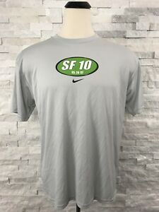NIke TShirt Men's Large Gray Green Crew Neck Short Sleeve Fit-Dry  2007 Vintage