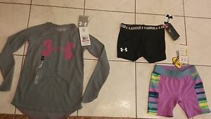 NWT Girls Under Armour lot long sleeve top XS + shorts black XS