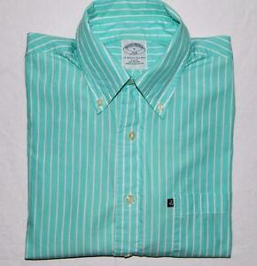 Brooks Brothers Men's Slim Fit Green Striped Long Sleeve Sport Shirt Size Small