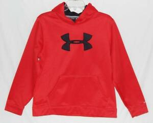 Under Armour Youth Boys Red Big Logo Loose Fit Hoodie Sweatshirt Size XL