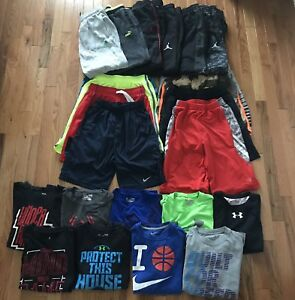 Lot of 24 Nike Under Armour Adidas Puma Boy's Athletic Shorts Shirts Pants