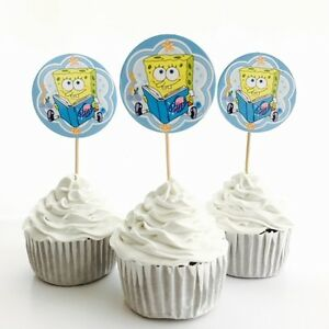 12x SpongeBob SquarePants Food Toppers. Party Supplies Lolly Loot Bag Bunting AU $3.50