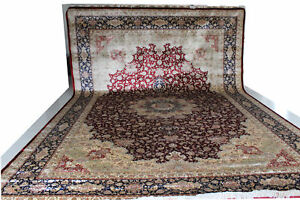 12x18 Burgundy ALL SILK Handmade Rug Fine Quality Classic Persian Tabriz Design