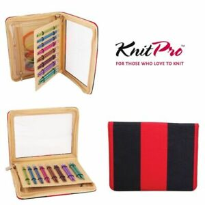 KnitPro Zing #x27;Deluxe#x27; Interchangeable Needle Set Red Blue Case amp; Accessories GBP 39.39