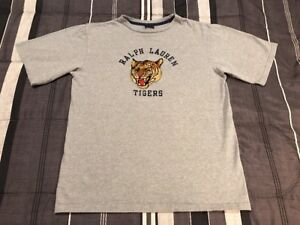 Vintage 90s Polo Ralph Lauren Tigers Sport Embroidered Sportsman Gray Shirt