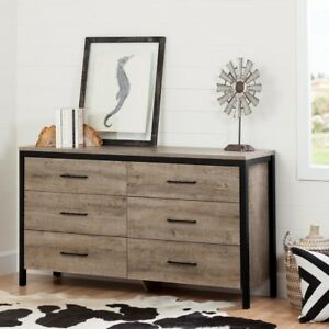 6-Drawer Dresser Built-In Storage Weathered Oak Farmhouse Style Home Furniture