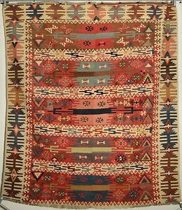 Antique rare 19th century Eastern Anatolian Turkish hand-woven kilim fragment.
