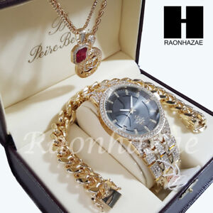 Iced Out Gold PT Simulated Pave Watch Ruby QC Chain Miami Cuban Bracelet Set P