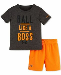 Under Armour Baby Boys 12M Orange and Gray Shirt & Shorts Set Ball Like A Boss
