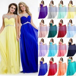 Long Chiffon Evening Formal Cocktail Prom Party Ball Gowns Bridesmaid Dress 6-18