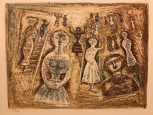 Massino Campigli 1958 Signed & Numbered Color Lithograph 48 of 175