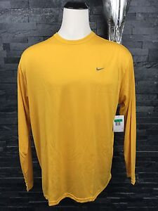 Nike Shirt Men's XL Yellow Long Sleeves Fit-Dry Athletic Running 2007 Vintage