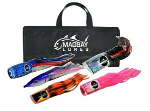 Large Tournament Marlin Lure Set 5 Pack Fully Rigged + Bag by MagBay Lures