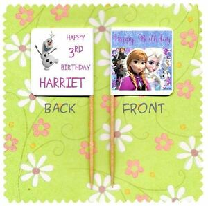 20 PERSONALISED DISNEY FROZEN ANNA ELSA OLAF CUP CAKE FLAG Topper Food Birthday GBP 3.25