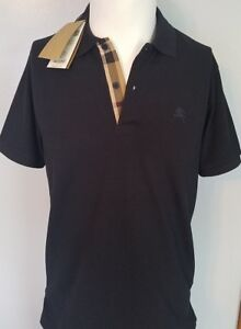 Burberry dark navy polo shirt short sleeve men oxford check placket smlxl2xl