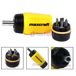 Maxcraft 60599 Gearless Stubby Ratchet Screwdriver 6 in 1 Bits Set Multi Bit
