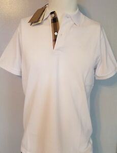 Burberry polo shirt men white short sleeve oxford check placket smlxl2xl3xl
