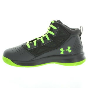 Under Armour 3482 Kids Boys Pre-School Jet Mid Basketball Shoes Stealth Gray