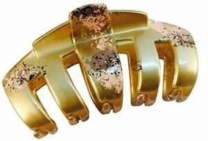 Parcelona French Tubular Golden Pink Grey Splash Hand Painted Jaw Hair Claw Clip