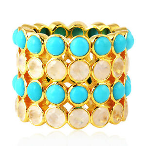 Natural Moonstone Yellow Gold Turquoise Gemstone Ethnic Band Ring For Women's