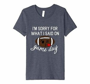 Kids Sorry For What I Said Game Day Football Face Fitted Shirt 6 Heather Blue
