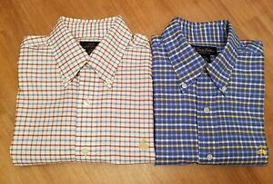 Lot Of 2 Brooks Brothers Supima Cotton Non-Iron Long Sleeve Sport Shirts Sz Med