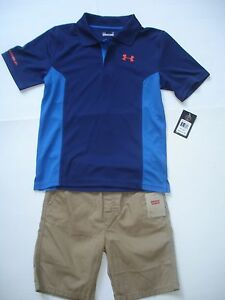 NWT Boy 7 Outfit - Under Armour Polo Shirt Blue and Orange Levi's Khaki Shorts