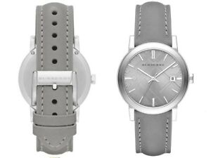new women's BURBERRY BU9036 Swiss Made WATCH Gray Leather Bracelet Silver Dial