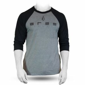 Ares Mens Athlete Baseball 34 Sleeve T-shirt GreyBlack crossfit weight lifting