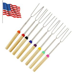 8SET Barbecue BBQ Marshmallow Roasting Sticks Telescoping Fork Smores Skewers
