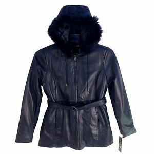709-1 Wilda Women 34 Long Leather Jacket Zip-Out Lining with Hoodie