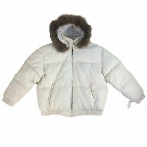 Women Bomber Leather Jacket Tanners Avenue With Hoodies & Fur White