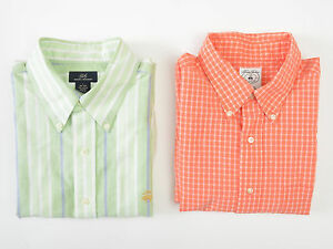 Lot of 2 Brooks Brothers Mens Sport Shirts Oxford Non-Iron Supima Cotton Large