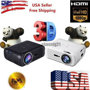7000 Lumens Full HD 1080P LCD 3D VGA HDMI TV Home Theater Projector Cinema US J0