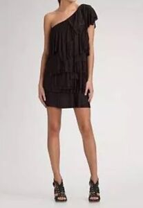 New without tag $338 BCBG Max Azria One Shoulder Ruffle Tiered B2322 Dress Sz Xs