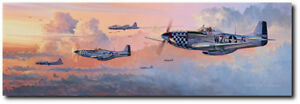 ALMOST QUITTIN' TIME L E CANVAS by Rick Herter P 51 Mustang Aviation Art