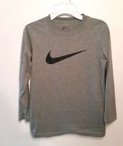 NIKE Boy's Dry Fit Shirt Youth S Gray Long Sleeve