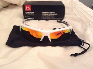 Brand New Under Armour Sunglasses UA Big shot Shiny White Orange Multi Golf