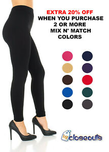 Women#x27;s Fleece Lined Leggings Solid Colors Winter Thick Warm Thermal Stretchy