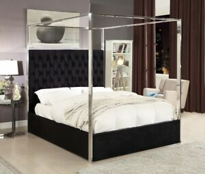 Queen Size Black Velvet Upholster Chrome Finish Canopy Bed Bedroom Furniture