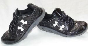 Youth Boys Black & White UNDER ARMOUR Spine Athletic Sneakers Shoes 4 Y
