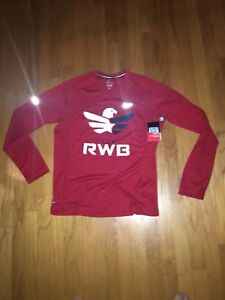 NWT Nike Team RWB USA Long Sleeve Dri Fit Size Medium Running Shirt Red