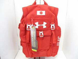 Auth UNDER ARMOUR Red White Nylon &  Synthetic Fiber Backpack