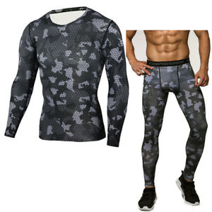 Men's Camo Compression Quick Drying Jersey Shirt +Leggings Fitness Pants  Sets