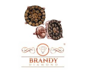 Brandy Diamond® Chocolate Brown 10K Rose Gold Beautiful Round Stud Earrings 1 Ct
